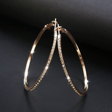 2018 Fashion Hoop Earrings With Rhinestone Circle Earrings Simple Earrings Big Circle Gold Color Loop Earrings For Women(China)