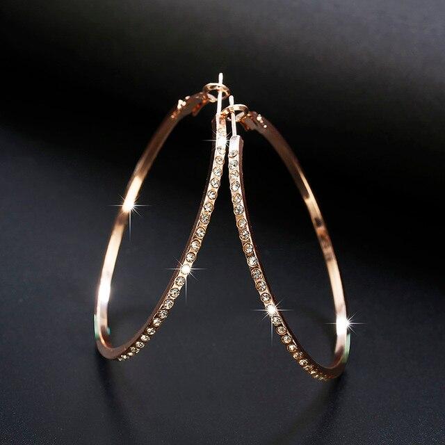 2018 Fashion Hoop Earrings With Rhinestone Circle Earrings Simple Earrings  Big Circle Gold Color Loop Earrings 541e2c1f6c42