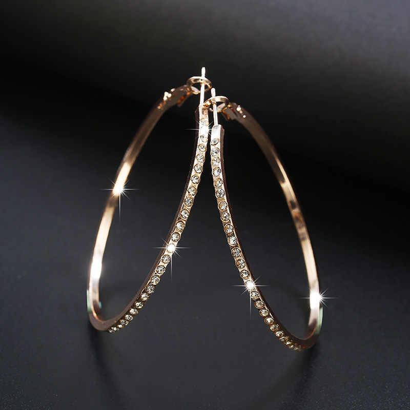 2018 pendientes de aro de la moda con diamantes de imitación pendientes circulares sencillos pendientes de bucle de Color dorado de gran círculo para mujer