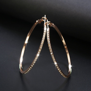 2020 Fashion Hoop Earrings With Rhinestone Circle Earrings Simple Earrings Big Circle Gold Color Loop Earrings For Women(China)