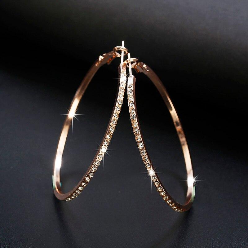 2020 модные серьги-кольца, стразы, круглые серьги, простые серьги, большой круг, золотой цвет, серьги-петли для женщин