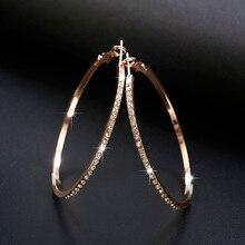Pendientes de aro de moda 2019 con pendientes de circonita de diamantes de imitación pendientes simples pendientes de lazo de Color dorado para mujer