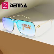 Denisa Топ голубой лед зеркальные солнцезащитные очки оттенки