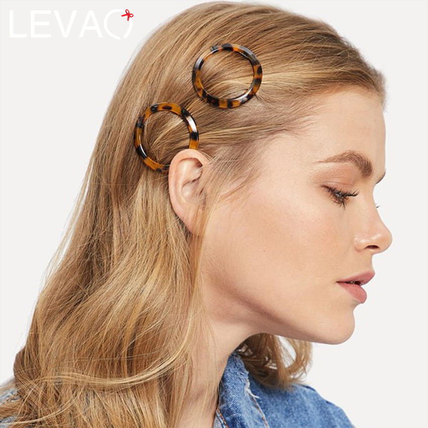 LEVAO Leopard Geometric Acetate Hairpins Round Bow Creative Hair Clips Oval Rectangle Triangle Alloy Girls Barrettes