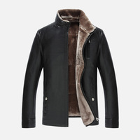 2016 New Men S Thick Winter Coat Fur Business Vertical Collar High Grade Leather Jacket Fashion