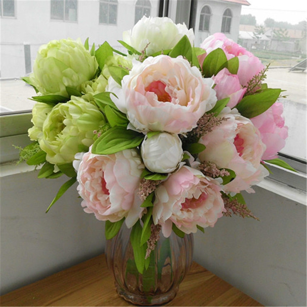 New 1pcs bouquet artificial peony silk flowers fake leaf for Artificial flowers for home decoration online