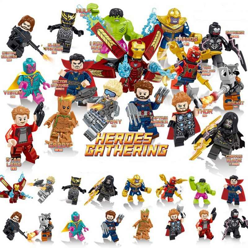 16pcs/set Super Heroes Marvel the Avengers endgame Mini Iron Man Thanos Falcon Hulk figures Building Blocks Compatible With Lego