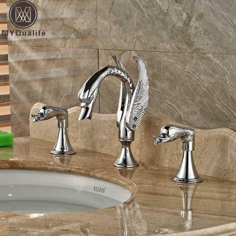 Dual Handle Swan Bathroom Basin Faucet Deck Mounted 3 Hole Widespread 8 inch Washing Basin Mixer Crane Taps Chrome brushed nickel bathroom widespread 3 holes mixer faucet dual handle deck mounted water taps