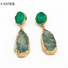 Canner Irregular Resin Earrings Long Drop Earrings For Women Girl Gift Chic Pink Stone Statement Earrings Korean Jewelry 2019 цена