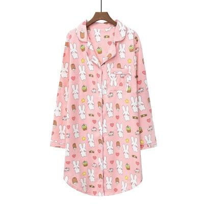 Daeyard 100% כותנה כתונת לילה נשים אביב כותונת ארוכת חמוד Cartoon לילה שמלה בתוספת גודל הלבשת רך מזדמן בגדי בית