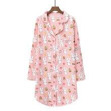 Daeyard 100% algodão camisola feminina primavera longo sleepshirt bonito dos desenhos animados noite vestido plus size sleepwear macio casual casa roupas