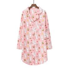 Женская ночная рубашка Daeyard, длинная ночная рубашка из 100% хлопка с милым мультяшным рисунком, Мягкая Повседневная одежда для сна размера плюс, для весны