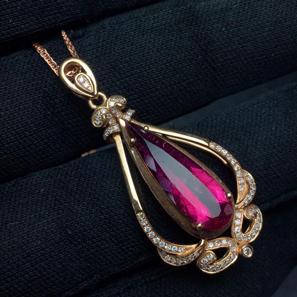 Tourmaline Pendant Fine Jewelry Real 18 K Gold 100% Natural Rubi Tourmaline 3.75ct Gemstones Diamond Pendant NecklaceTourmaline Pendant Fine Jewelry Real 18 K Gold 100% Natural Rubi Tourmaline 3.75ct Gemstones Diamond Pendant Necklace