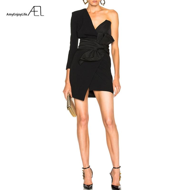 AEL noir Mini robe asymétrique Sexy col en V profond été femmes vêtements 2018 décontracté Lo vêtements