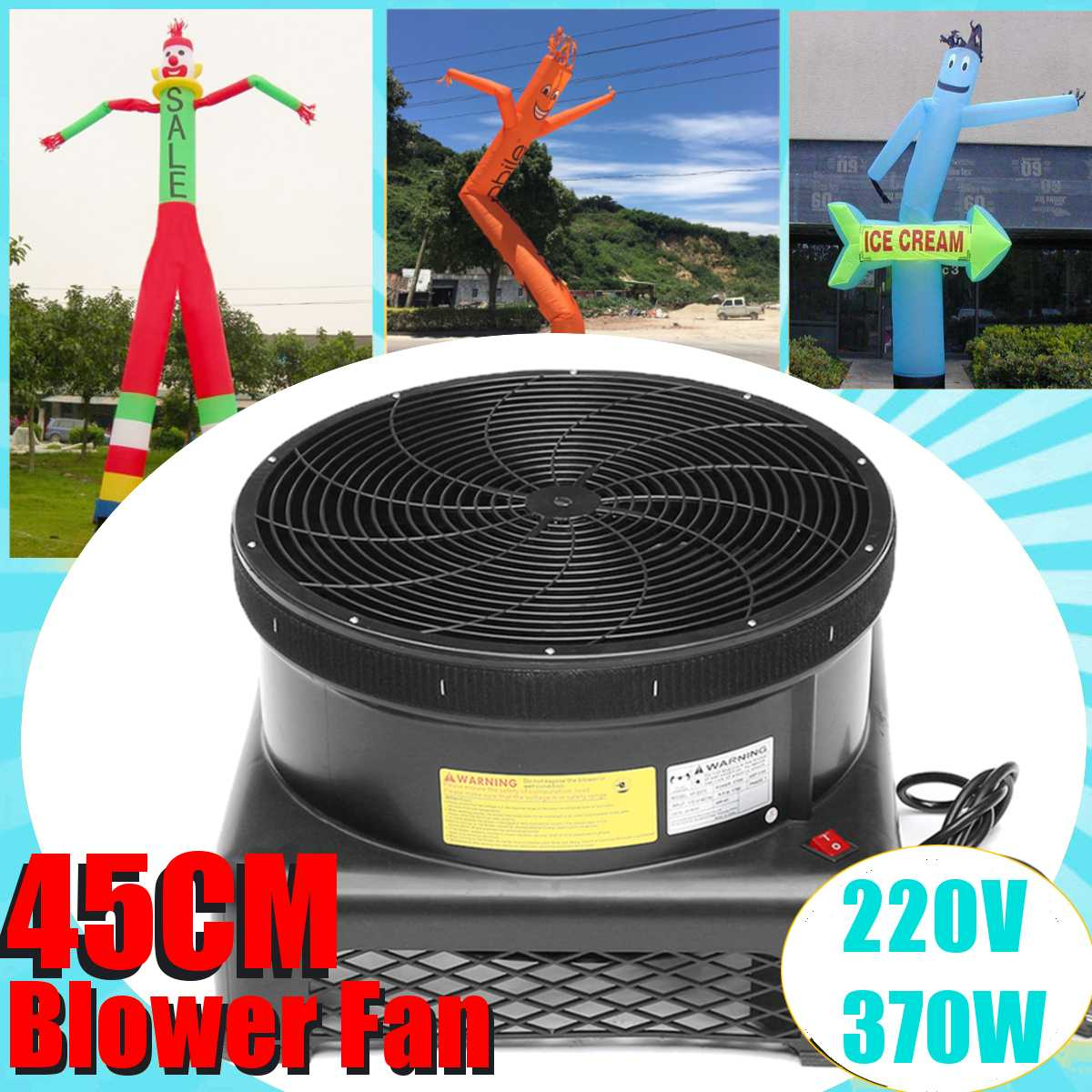 220V 370W Commercial Air Blower Fan Wind Blower Stream Fan for Inflatable Tube Man Puppet 4m 2 Legs 3m Single Leg air Dancer