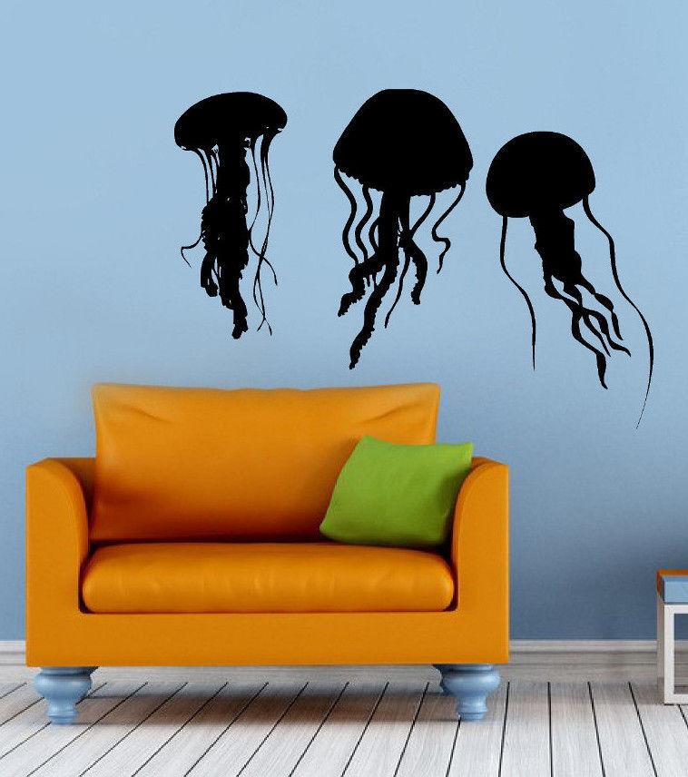 jellyfish vinyl wall decal ocean sea animal jellyfish wall sticker restaurant aquarium shop bedroom decorative decor - Shop Bedroom Decor