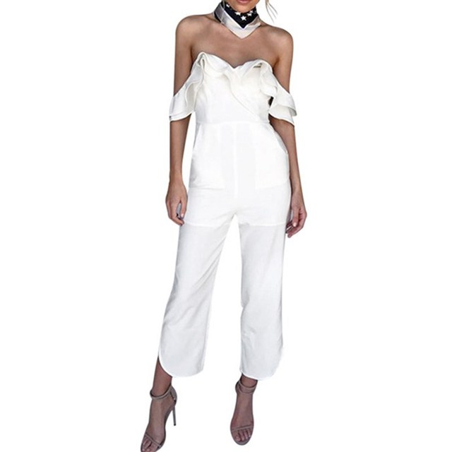 d58716ca85c Wuhaobo Ruffles Strap White Jumpsuit Sexy Off Shoulder Split Wide Leg  Rompers For Women Slim Waist Party Overalls 2018 New