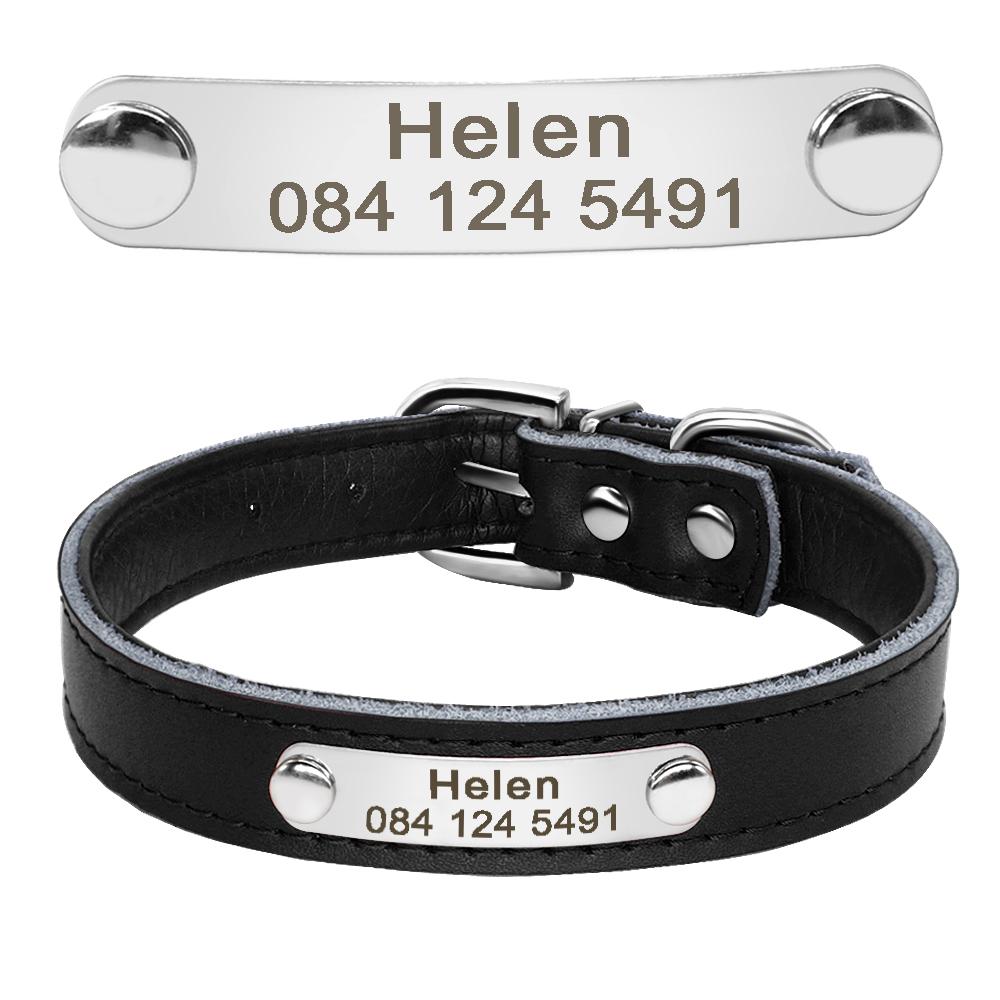 Collar de perro de cuero con relleno interior personalizado con placa de identificación grabada 8