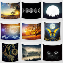 Hot sale animal cats sunset  wall hanging tapestry home decoration tapiz pared L 200*150cm M 150*130cm