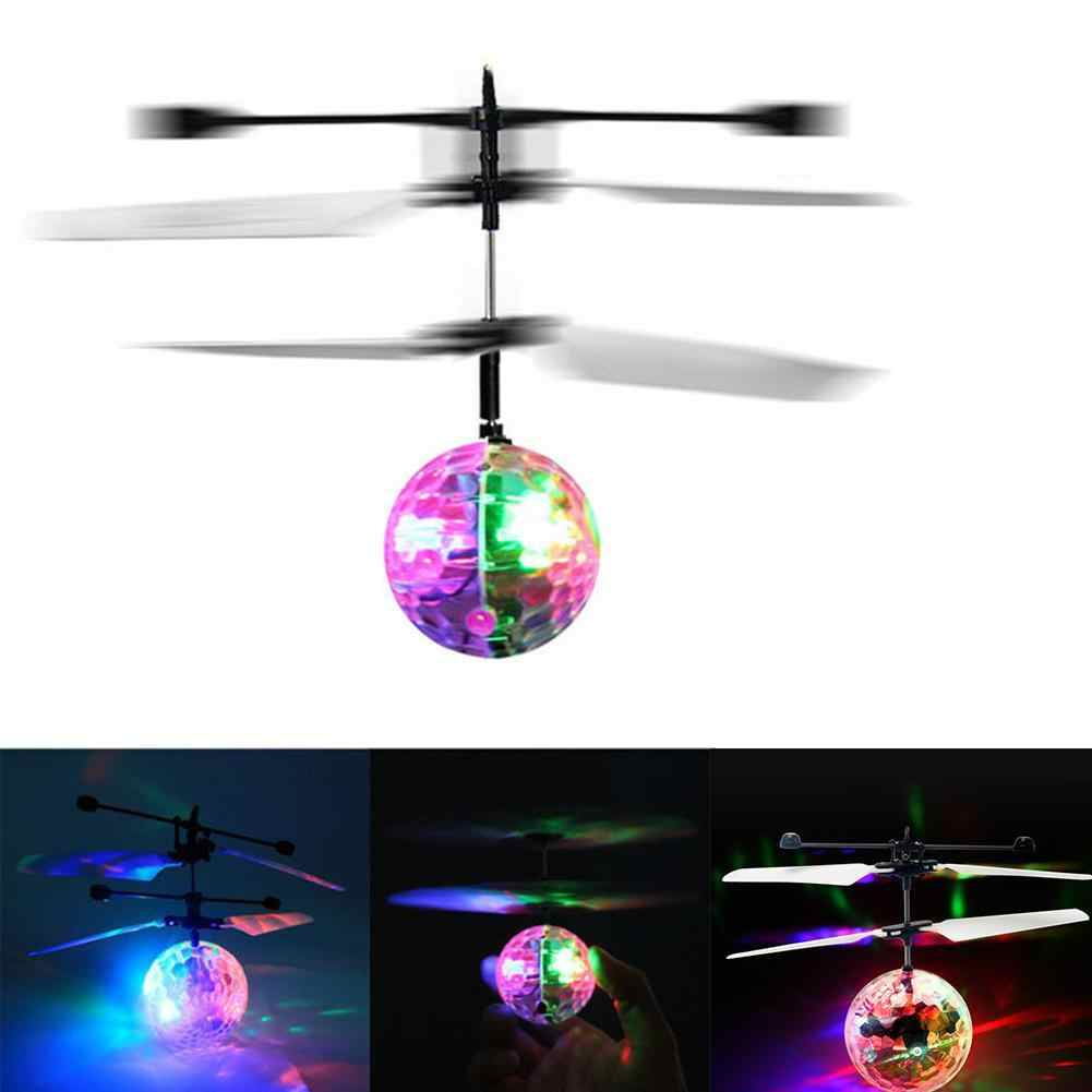 Flying Magic Disco Ball Colorful LED Flashing Infrared Induction Helicopter IR