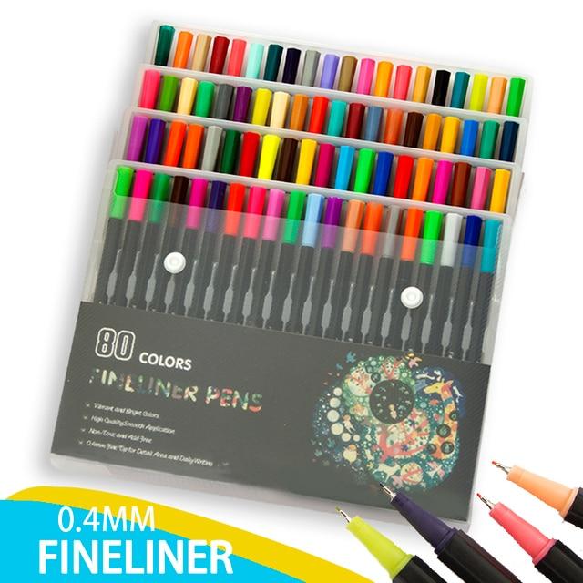 80 Colors 0.4mm Tip Black Fineliner Sketching Pens