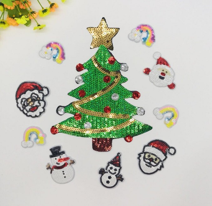 Sequin Christmas Trees Patches Appliqued Sew On For Hats Clothes Jeans DIY Garment Accessories Christmas Birthday Gift