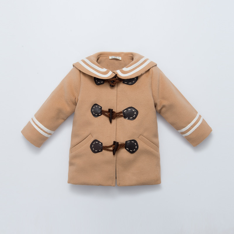 ФОТО new fashion brand baby girl winter coat infant baby girls woolen overcoat kids Horn button coat outwear free shipping