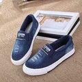 2016 Nova Crianças sapatas de Lona Denim Sapatos Da Moda Crianças Respirável Sapatos Zíper Meninos Meninas Carta Esportes Sapatos Tênis Size25 36