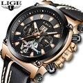 NewLIGE для мужчин часы Мода Tourbillon деловые водонепроницаемые часы повседневное кожа автоматические механические часы Relogio Masculino