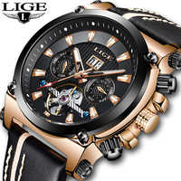 NewLIGE Men Watches Fashion Tourbillon Business Waterproof Watch Men Casual Leather Automatic Mechanical Watch Relogio Masculino