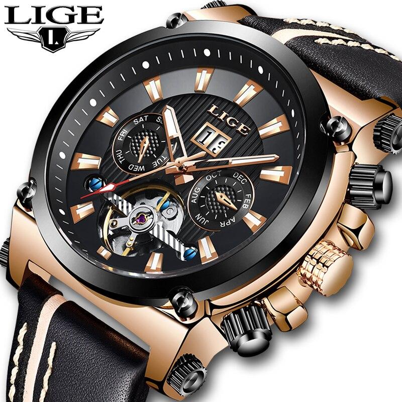 NewLIGE hombres moda relojes Tourbillon negocios resistente al agua reloj de cuero casuales de los hombres reloj mecánico automático reloj Masculino