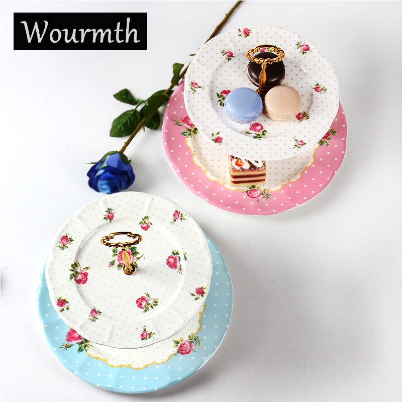 WOURMTH 2017 New Arrival Top Grade Royal Bone China Fruit Dishes Ceramic Cake Plate Sets 2