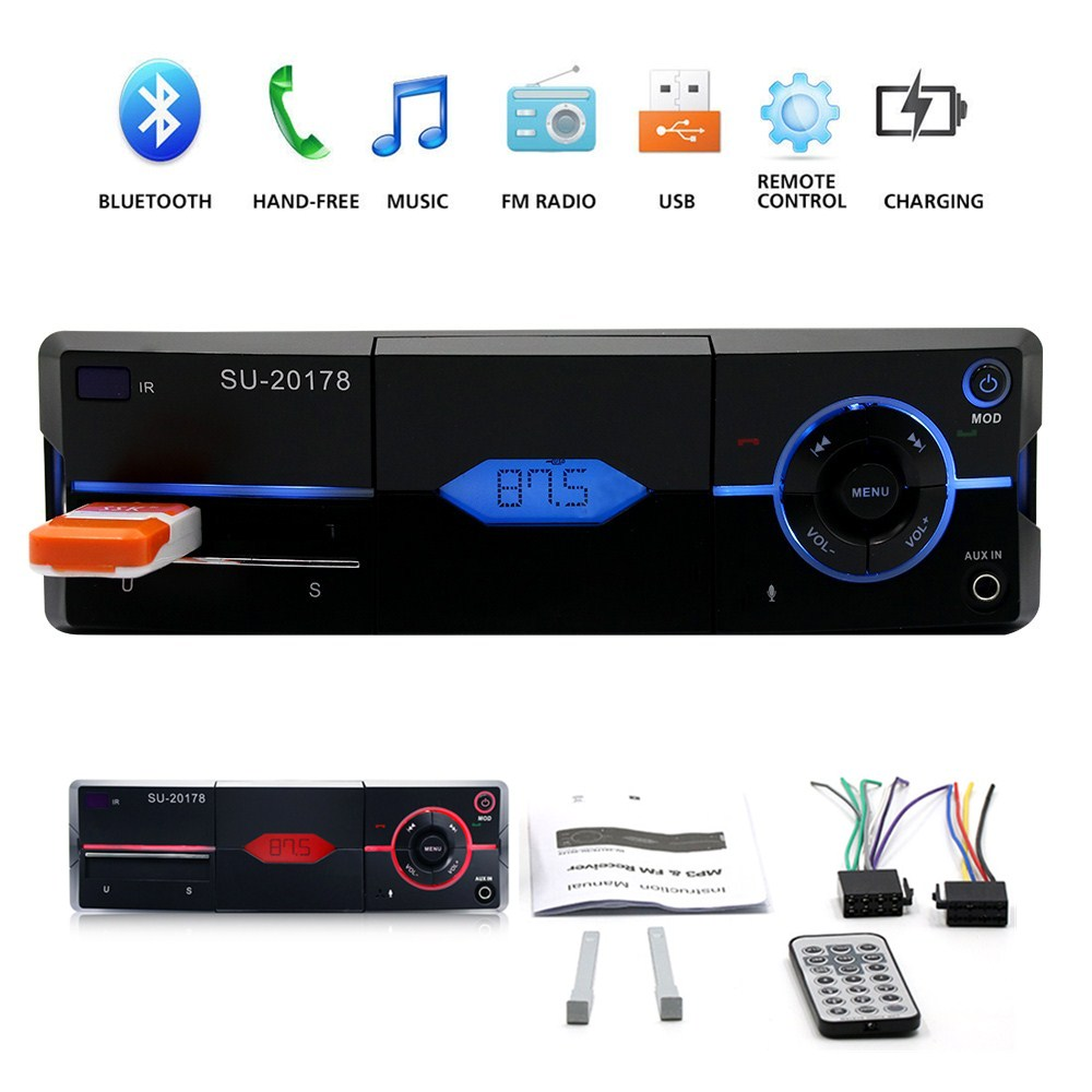 SU-20178 1 Din Bluetooth Vehicle Car MP3 Player Stereo Audio Player with FM  Radio