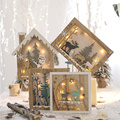 Nordic Children Room Decorations Wooden Carved Tree Snowman House Star Model Decorative Xmas New Christmas Figurine With Light