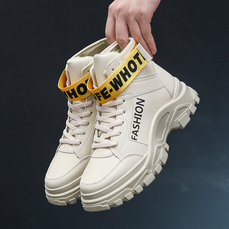 Hiver High up Épaisse Street Mâle Bottes blanc Hommes Beige Dentelle Papa Boucle Chunky Sneaker Wedge Et Crochet Top Chaussures Chaud Semelle noir aXxdXqP