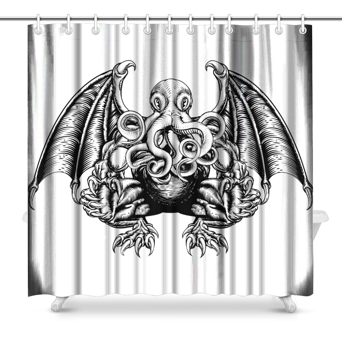 Detail Feedback Questions About Aplysia Cthulhu Monster In A Woodblock Style Fabric Bathroom Shower Curtain Set 72 X Inches On Aliexpress