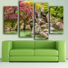 2017 Limited Modern Canvas New Product Print Painting Wall 4pc/set Park Reservoir Rocks Waterfall Art Picture For Living Room