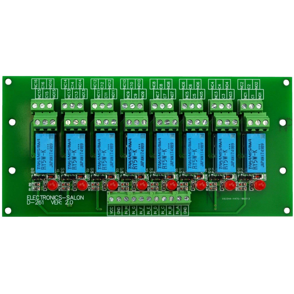 electronics-salon 8 channel dpdt signal relay module board (operating  voltage: dc 5v