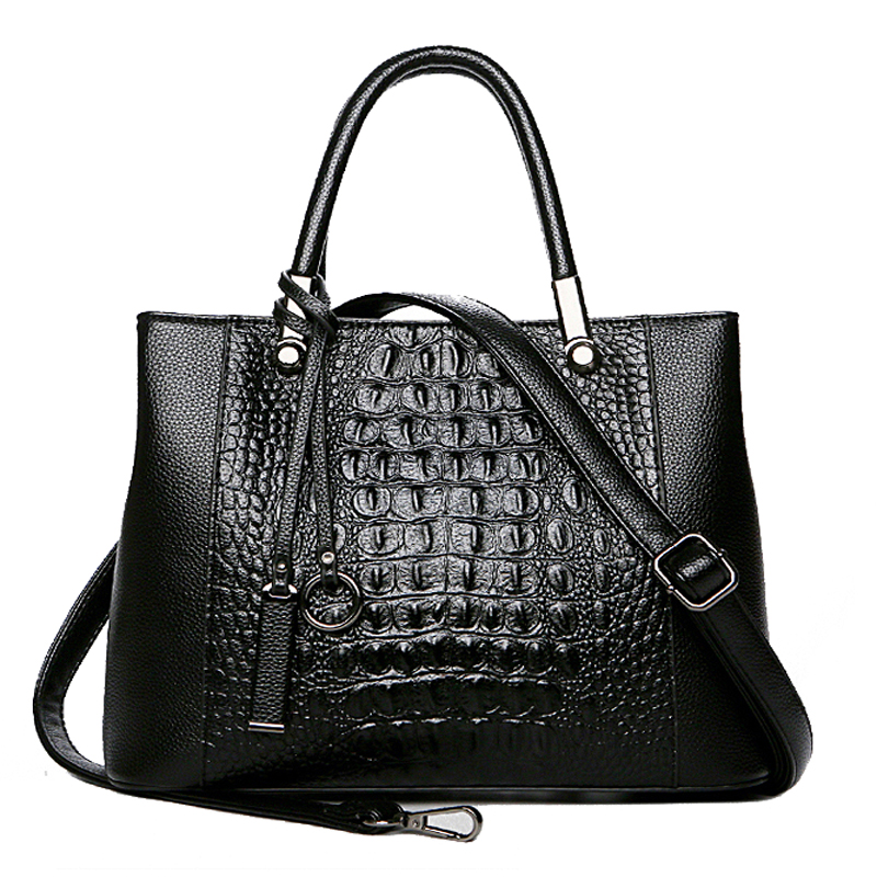 Authentic Women Bag Leather Women Crocodile Handbag Vintage Large Tote Messenger Shoulder Bags Designer saffiano osmond women 6pcs bag sets crocodile women leather handbag shoulder bag for women messenger bags clutch and card pack tote bag