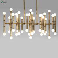 2016 Post Modern Delightful Rectangular Plate Chrome Gold Led Chandelier Bamboo Shape Pipe Hanging Chandelier