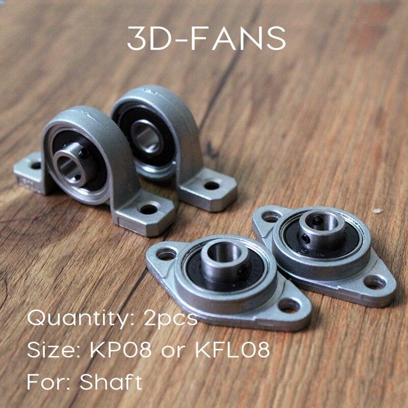 2Pcs KP08 or KFL08 Bore 8mm - Kirksite Bearing - Insert Bearing - Shaft Roller - Material Zinc Alloy uc217 sphercial bearing or insert bearing 85x150x85 7mm 1 pcs