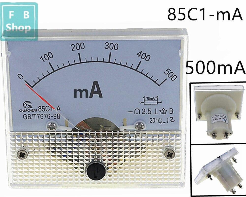500mA DC amperímetro ponteiro 85C1 série analógico AMP medidor 64*56mm tamanho