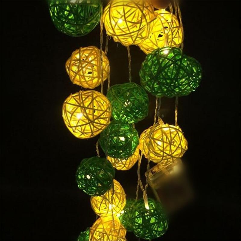 3M 20 LED Topla bijela 4cm Rattan lopta LED String rasvjeta praznik božićno vjenčanje Party zavjese dekoracija svjetla Drop Dostava