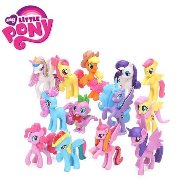 13 pcs 5.5-8 centímetros My Little Pony Brinquedos Mini Ação PVC Figures Set Twilight Sparkle Pony Jack Maçã spike o Dragão A Apple Jack Bonecas