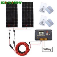 ECOworthy 320W 12/24V solar system: 2pcs 160W mono solar panel& 20A controller& 5m black red cables Z charge FOR 12V battery kit