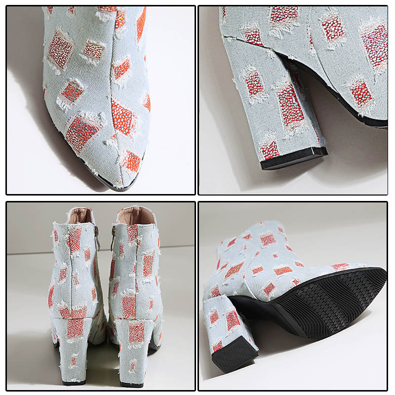 Roto Denim Super Cremallera 2019 rojo Azul Phoentin Mujer Zapatos Jeans Geométrica Tobillo Diseño Tacón Botas Ft499 Vaquera De Azul AfPwddxz