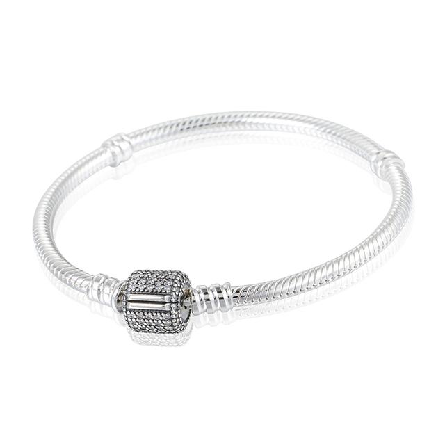 Clássico Starter Bracelete De Cristal Assinatura Fecho New Charme Pulseiras & Bangles Para Mulheres 925 Sterling Silver Jóias DIY Fazendo