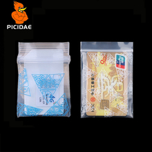 Print Miniature Zip Lock Grip Plastic Packag Bag Food Candy Jewelry blue Resealable Thick PE Self Sealing Small Package triangle