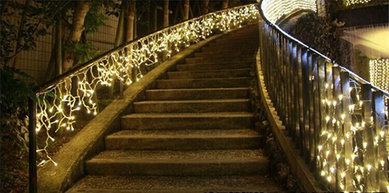 Светодиодный светильник-Гирлянда для занавесок, 220 В, 5 м, 96 Светодиодный, Рождественская гирлянда, светодиодный, Фейи, рождественские, вечерние, для сада, сцены, открытый декоративный светильник