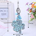 Leather High Quality crystal rhinestone Key chain Fashion Creative cute 11 color Four Leaf Clover Lucky women Key Chain Key ring